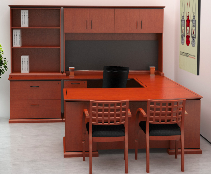Warm Cherry Executive Desk Home Office Collection: Cherryman Emerald Collection Table Desk EM-401N